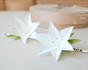 Lily hair clip White wedding flower girl hair clip White lily flower barrette bobby pin Hair accessories Baby gift Spring bridal flower