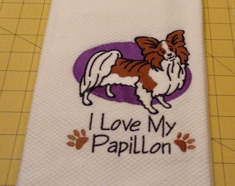 I Love My Papillon Embroidered Kitchen Hand Towel, Williams Sonoma All Purpose Kitchen Towel; Made in Turkey, 100% Cotton