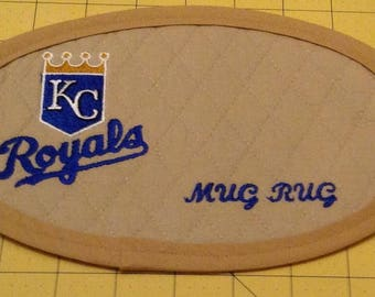 Kansas City Royals Mug  Rug; XLarge Embroidered Quilted Coaster, handmade from Tan Cotton Double Diamond Quilting/Embroidery.