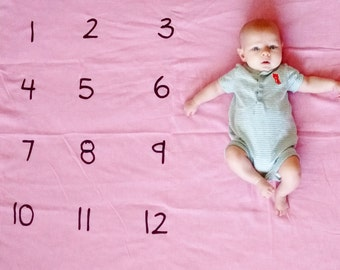 Baby Monthly Watch Me Grow Blanket colored, pink, turquoise, monthly count, baby shower gift, gifts under 20, baby photo prop, popular baby