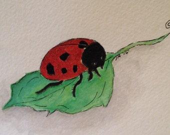 Watercolor LadyBug Art