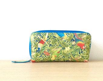 Wallet printed colored jungle, parrots • Collection PARROT PARADISE