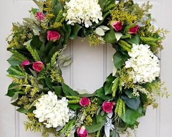 """24"""" wreath, hydrangea wreath, leaf wreath, salal wreath, elegant wreath, preserved wreath, large wreath"""