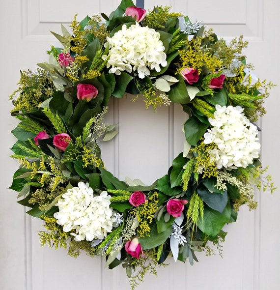 "24"" wreath, hydrangea wreath, leaf wreath, salal wreath, elegant wreath, preserved wreath, large wreath"