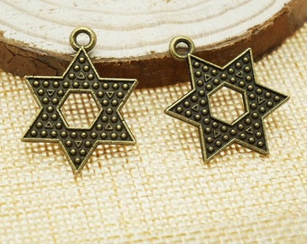 Star Charms -30pcs Antique Bronze Empty Stars Charm Pendants 28mm x 21mm (501-17)