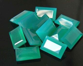 2 Pair, 16x10 mm, Green Onyx Faceted Loose Gemstone, Baguette Shape, Cut Stone, Jewelry Gemstone