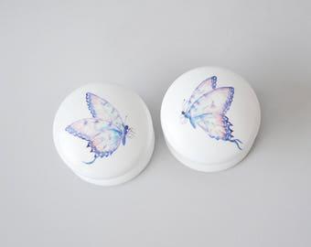 Butterfly Drawer Knob, Drawer Pull, Dresser Pull, Knob, Pretty, Cabinet Knob, lilac, Handles.
