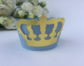 Set of 12 prince/princess cupcake wrappers, crown cupcake wrappers, personalized cupcake wrappers, cupcake wrappers