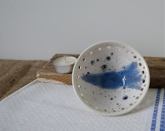 Handthrown ceramic trinket candle dish in powder-blue and white with decorative pierced rim - handmade stoneware pottery
