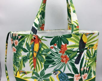 """TROPICAL"" printed tote bag"