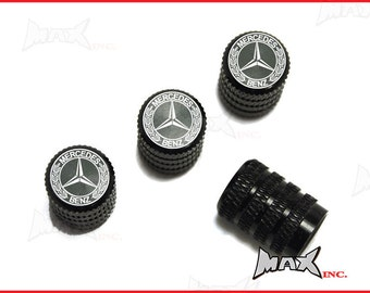 MERCEDES BENZ - Set Of 4 Lasered Logo Aluminium Tire Valve Caps (SKU-17836)