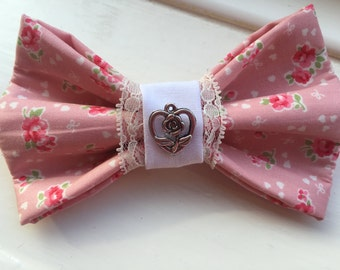 Pink Rose Bow Tie