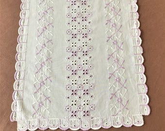 Vintage Eyelet Table Runner With Embroidery, Pretty White Cotton Eyelet Tablecloth With