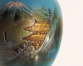 painted brass chinoiserie ginger jar | lantern figurine