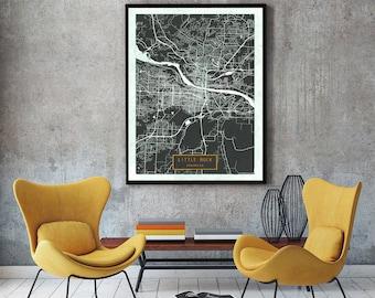 Little Rock Map Etsy - Little rock on us map