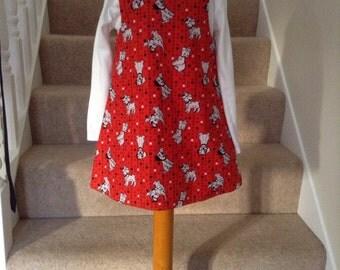 Red Dalmation dress, 101 dalmation fabric dress, 101 dalmation fabric pinafore dress, age 2-3 yr