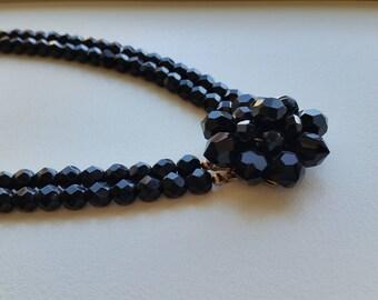 Vintage Black Crystal Choker