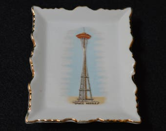 Seattle Space Needle Souvenir, Space Needle Trinket Tray,  Seattle Space Needle China Dish, Space Needle Collectible, Space Needle Souvenir