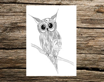 Owl On Branch A4 Print