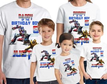 Transformers Birthday Shirt Add Name & AGE Personalized Transformers Birthday Shirt