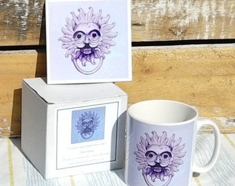 Durham Sanctuary Knocker art print ceramic mug and tile coaster set