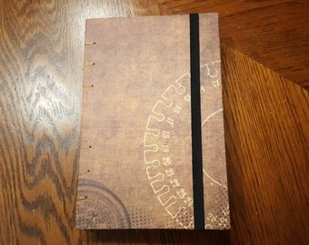 Steampunk Cog Handmade Hardcover Journal with Elastic Closure
