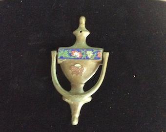 Antique Cloisonne and Brass Door Knocker, Floral, Large, Exc!