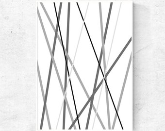 Grey, black and white geometric line print, abstract line art, print download, line drawing, abstract lines, grey wall art, large wall art
