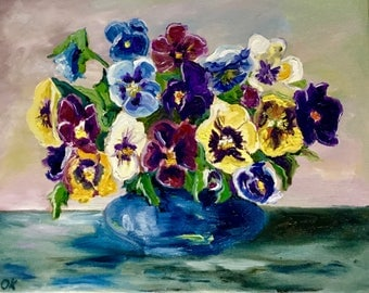 Wall art . Oil painting. Modern painting. Wall decor. Pansy in a vase. Original oil painting by Olga Koval .