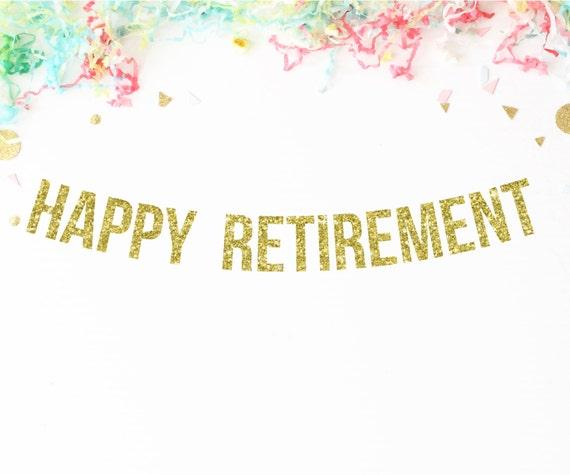 Happy Retirement Banner Gold Glitter Banner By