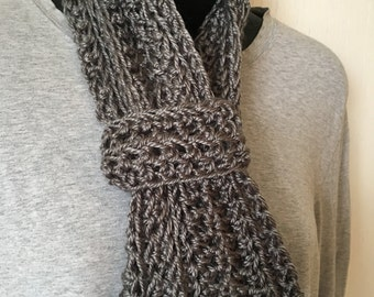 Gray Crocheted Infinity Scarf with Cuff