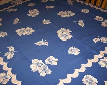 Bold blue floral vintage tablecloth