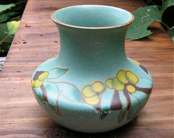 Art Deco Chalkware Vase Blue with Lemon Pattern Citrus Shabby Chic