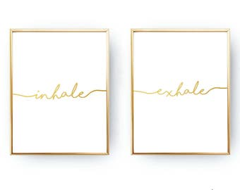 Gold Foil Inhale Exhale Yoga Wall Art DIGITAL DOWNLOAD Yoga Printable Yoga Art Yoga Poster Zen Print Meditation Print Yoga Studio Yoga Room