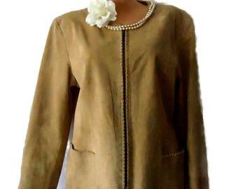 Womens leather jacket / vintage suede beige jacket / 90s short leather coat / fitted leather jacket  / women size L