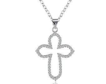Swarovski Elements Pave Cross Sterling Silver Necklace