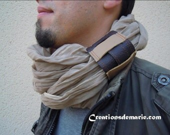 Scarf tube, Arabic scarf men(people) beige cotton.