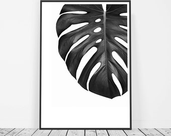 Scandinavian Print, Tropical Print, Tropical Leaf Print, Monstera Leaf Print, Affiche Scandinave, Black and White Printable Art, Digital Art