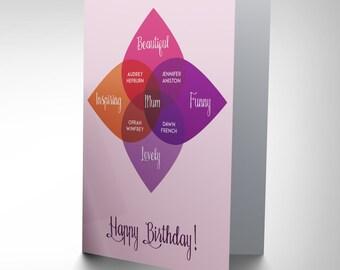 Mum Birthday Card -Happy Mother Venn Diagram Stars Blank Card CP2716