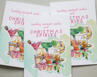 Christmas Cards 6 Pack - Spirits Alcohol Warmest Wishes Funny Tipsy Coo Set Cards XMPACK037_CP
