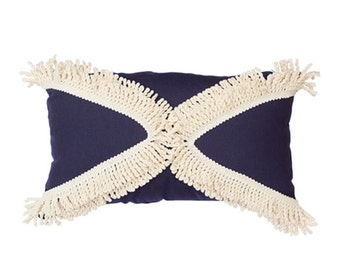 SALE Triangle Fringe Cushion in Navy 50 x 30 cm rectangle