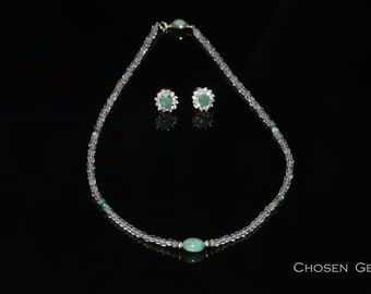 Natural emerald necklace + earrings