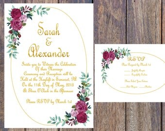 Pink and Gold Floral Printable Wedding Invitation
