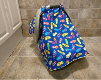 Universal blue soft carseat canopy, girl car seat canopy, baby car seat canopy, baby car seat cover, yellow minky, infant car seat canopy