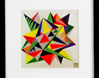 Geometric print- framed and matted