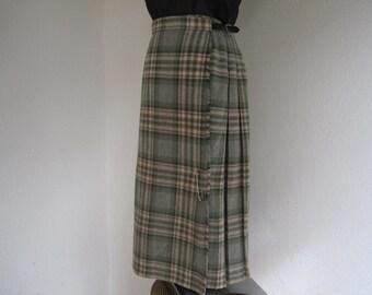 Vintage 60s kilt Tartan skirt skirt Plaid wool S