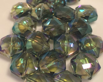 12mm Hexagon Mermaid Colored Faceted Crystals  20pc