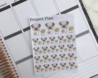 Shopping Penny Deco Sticker Sheet (23 Project Plan Penny The Pug Decorative Stickers)