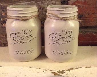 1 Vintage style Mason jar, Shabby chic, storage