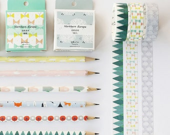 Cute Washi Tape, Planner Tape, Scrapbooking, Yellow Pink Tape, Forest, Sheep, Boat, Fox, Cactus Tape
